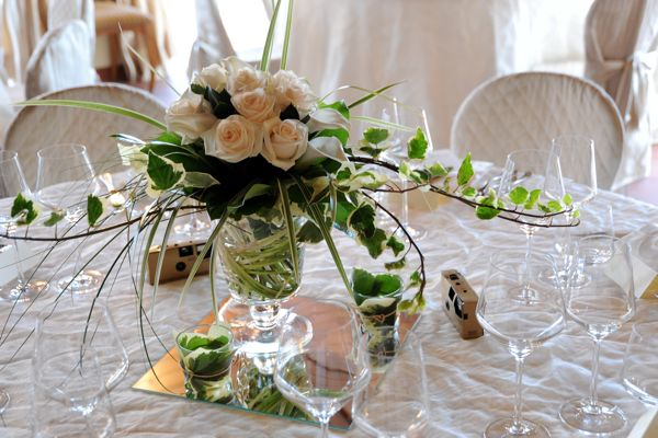 Wedding flowers, table centre pieces, roses, ivy