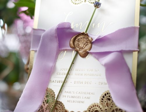 Wedding stationery  lavender invitations